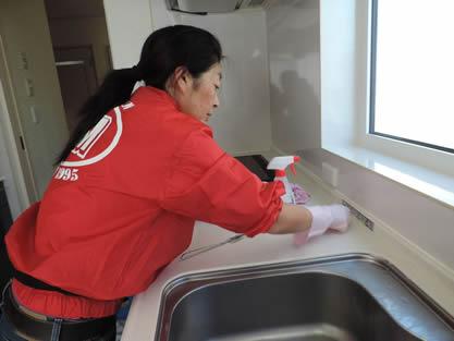 キッチン-作業手順追加 シンク、蛇口、排水口を専用洗剤で洗浄し、ぬめり、水垢等を落とします。