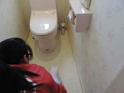 トイレ-作業手順追加 トイレ室内の戸棚、床、ドアの両面を拭き上げ完了です。